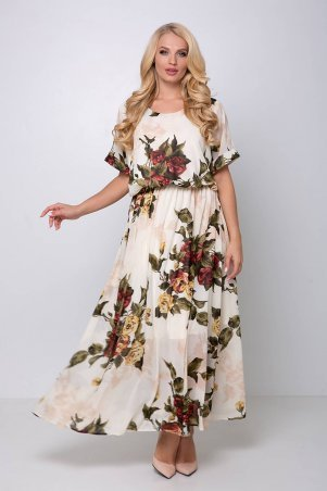 Tatiana. Длинное шифоновое платье красные розы. Артикул: ДЕМИ белое