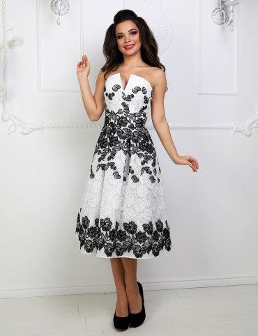 Enigma. Платье коктейльное с корсетом на спинке и V-образным вырезом. Артикул: P1042