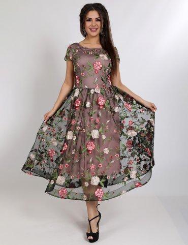 Enigma. Платье вечернее с вышитыми гладью цветами на сетке. Артикул: G2446