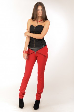 Lilo: Узкие красные штаны с отворотом и вставкой из кожзама 214 - главное фото