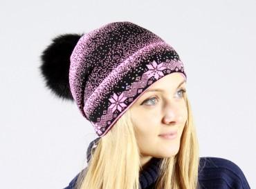 Bakhur: Вязаная шапочка с снежинками с меховым бубоном 2044 - главное фото