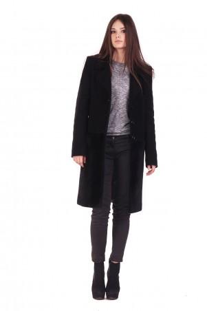 Lilo: Черное пальто до колен с меховым низом 1633 - главное фото