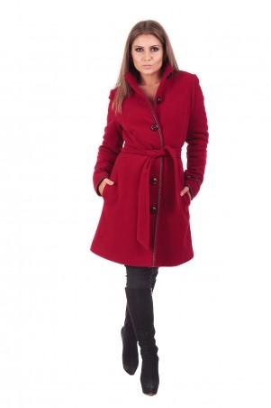 Lilo: Кашемировое красное пальто до колен с отделкой 163 - главное фото