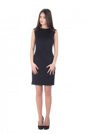Lilo: Черное приталенное платье с кружевом на рукавах 152 - главное фото