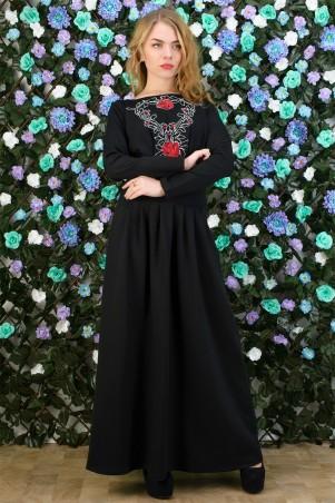 5.3 Mission: Платье-макси черное с вышивкой 5039/5 - главное фото