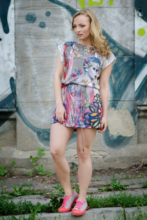 """InRed: Платье с узором """" девушка и цветы"""" 3D 7003 - главное фото"""