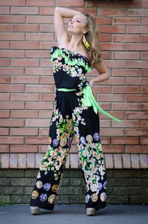 InRed: Комбинезон черно-зеленый с цветами 7010 - главное фото