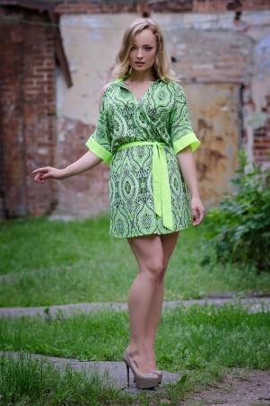 InRed: Платье-рубашка салатная  из креп-шифона 7019 - главное фото
