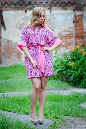 InRed: Платье-рубашка кофейная   из креп-шифона 7024 - главное фото