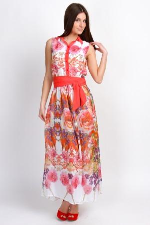 """InRed: Платье """"Орхидея"""".Длинное платье рубашечного кроя  с розовыми цветами 7027 - главное фото"""