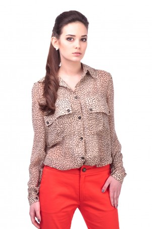 Lilo: Бежевая блузка в горошек 414 - главное фото