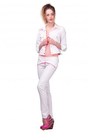 Lilo: Узкие белые брюки с отворотом и розовой молнией 430 - главное фото