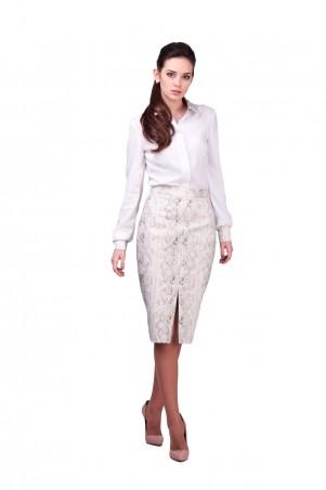 Lilo: Белая блуза с принтованным воротником и манжетам 432 - главное фото