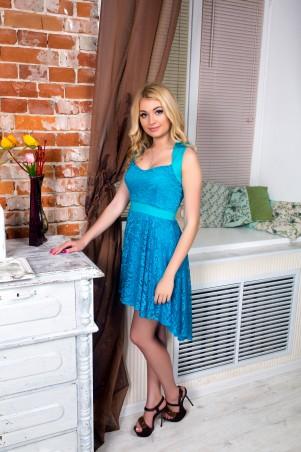 """InRed: Платье бирюзовое из гипюра """"Керри"""" 7094 - главное фото"""