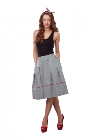 Lilo: Клешная юбка миди в полоску 0515 - главное фото