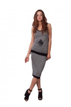 Lilo: Трикотажная серо-черная юбка 0523 - главное фото