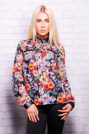 Glem: Блуза Цветы на черном  Лекса 1 д/р - главное фото