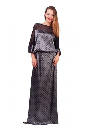 Lilo: Длинное атласное платье в горошек с сеткой 0563 - главное фото