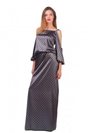 Lilo: Атласное платье в пол с вырезами на плечах 0564 - главное фото