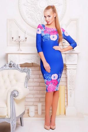 Glem: Платье Цветы синий  Лоя-1 д/р - главное фото