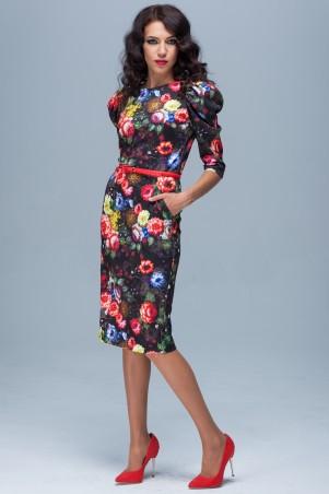 Jet: Платье ЕЛЕНА Розы джерси черный 1093A-5047 - главное фото