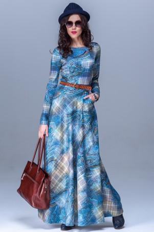 Jet: Платье ВИЛОНА джерси Клетка сине-беж 1103-2921 - главное фото