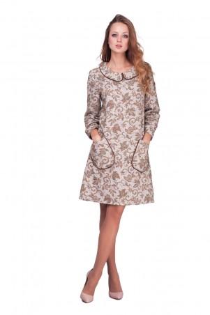 Lilo: Короткое песочное платье-трапеция с принтом 0587 - главное фото