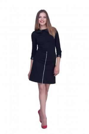 Lilo: Короткое черное платье-трапеция с кожаными вставками 0590 - главное фото