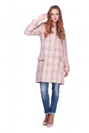 Lilo: Нежно-розовое осеннее пальто в клетку 0611 - главное фото