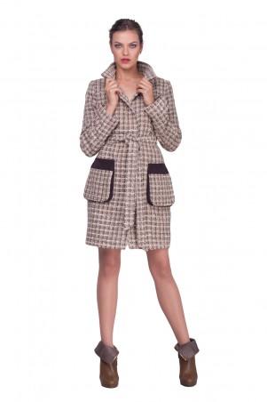 Lilo: Коричневое пальто в клетку с замшевым воротником 0579 - главное фото