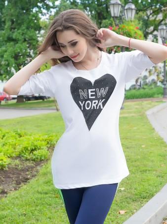 ISSA PLUS: Белый батник с коротким рукавом New York 704_белый - главное фото