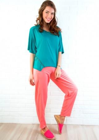 ISSA PLUS: Летние хлопковые брюки розового цвета 604_персиковый - главное фото