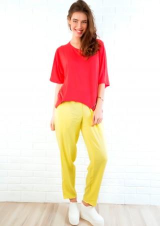 ISSA PLUS: Желтые летние брюки из хлопка 603_желтый - главное фото