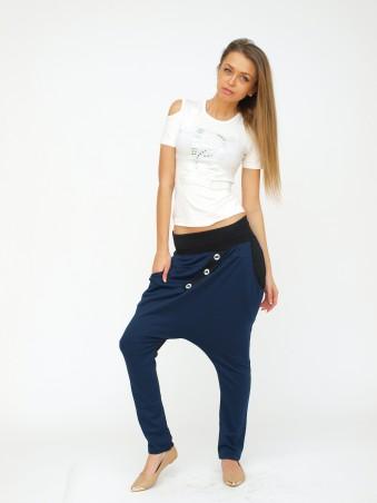 ISSA PLUS: Черно-синие брюки с мотней и крупными пуговицами 055_черный/синий - главное фото