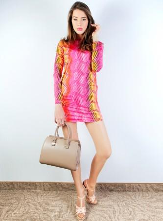 ISSA PLUS: Розовое мини-платье в зигзагообразную полоску 408_малиновый - главное фото