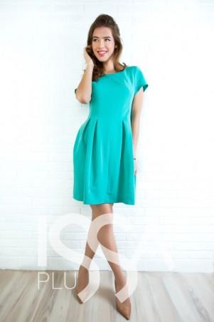 ISSA PLUS: Расклешенное ментоловое платье 404_мятный - главное фото