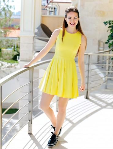 ISSA PLUS: Желтый сарафан с юбкой клеш 412_желтый - главное фото