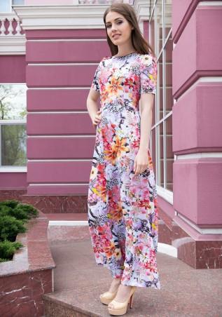 ISSA PLUS: Платье в пол в цветочно-леопардовый принт 417_принт - главное фото