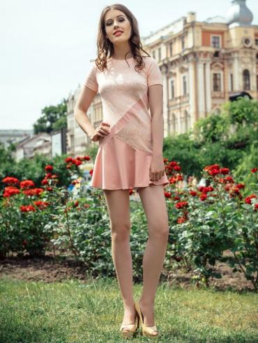 ISSA PLUS: Персиковое платье Твигги 423_персиковый - главное фото