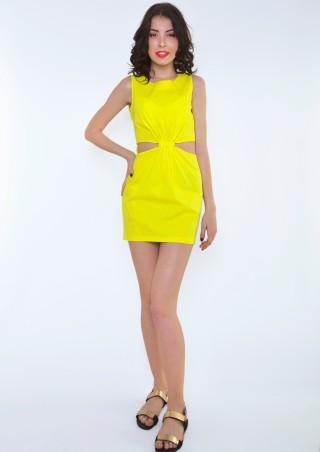 ISSA PLUS: Желтое платье с боковыми прорезями 415_желтый - главное фото
