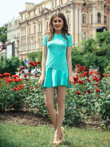ISSA PLUS: Мятное платье Твигги 423_мятный - главное фото