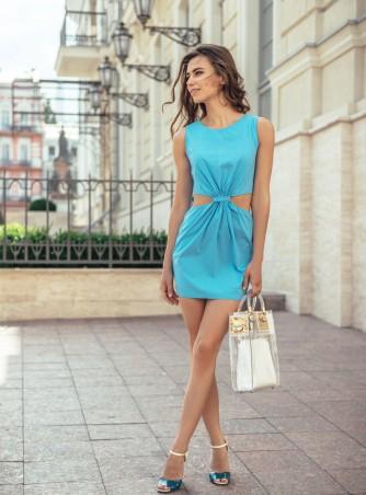 ISSA PLUS: Голубое платье с боковыми прорезями 415_голубой - главное фото