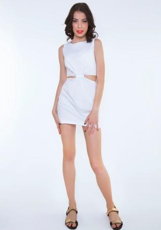 ISSA PLUS: Белое платье с боковыми прорезями 415_белый - главное фото