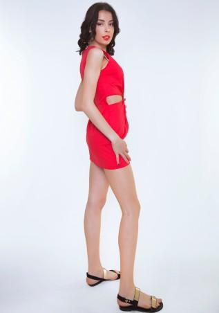 ISSA PLUS: Красное платье с боковыми прорезями 415_красный - главное фото