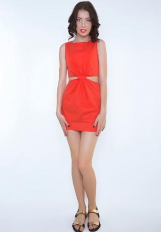 ISSA PLUS: Коралловое платье с боковыми прорезями 415_коралловый - главное фото