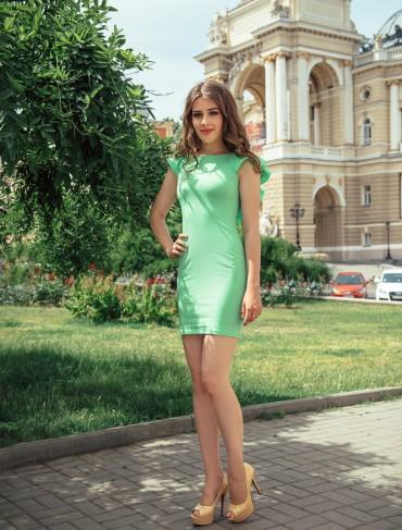 ISSA PLUS: Облегающее зеленое платье с рукавами воланами 428_зеленый - главное фото