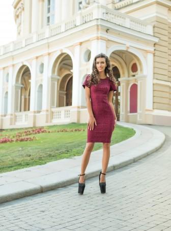 ISSA PLUS: Облегающее коралловое платье с рукавами воланами 428_коралловый - главное фото
