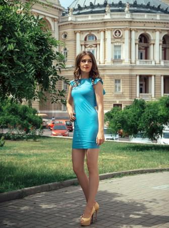 ISSA PLUS: Облегающее голубое платье с рукавами воланами 428_голубой - главное фото
