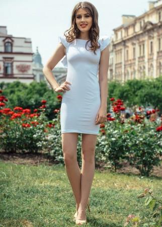 ISSA PLUS: Облегающее белое платье с рукавами воланами 428_белый - главное фото