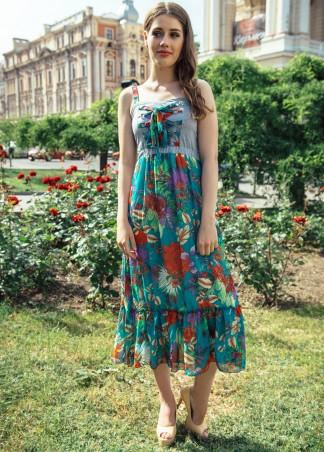 ISSA PLUS: Летний сарафан миди с цветастым подолом 426_мультиколор - главное фото